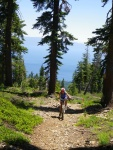 Lake Tahoe views on a steep loose section