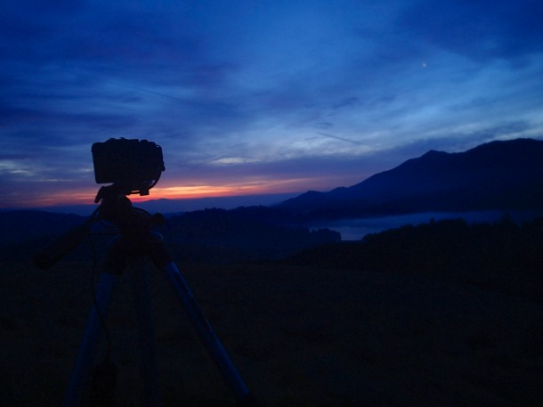 Hiking out in the dark to set up the camera before sunrise