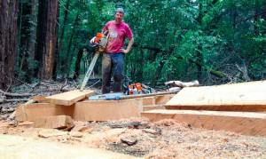 A rare self portrait.  I've spent months building a new trail and milling fallen trees into lumber for bridges.
